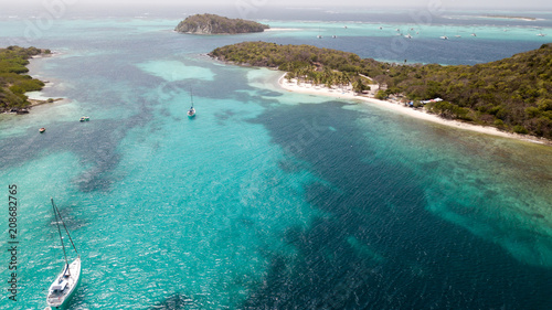 Aerial view of Tobago cays in st-Vincent and the Grenadines - Caribbean islnds