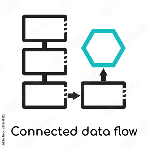 Connected Data Flow Chart Icon Vector Sign And Symbol Isolated On