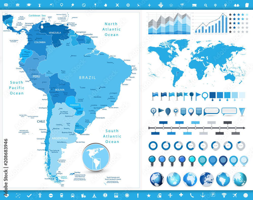 South America Map and infographic elements Foto, Poster ...