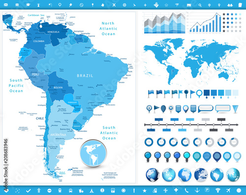 South America Map and infographic elements Tablou Canvas
