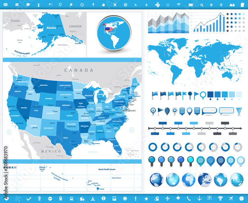 Photo  USA Map and infographic elements