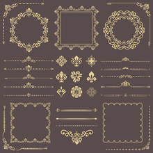 Vintage Set Of Vector Horizontal, Square And Round Elements. Different Elements For Design, Frames, Cards, Menus, Backgrounds And Monograms. Classic Golden Patterns. Set Of Vintage Patterns