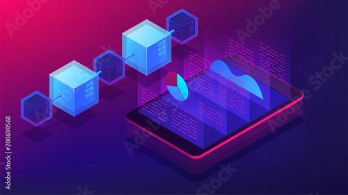Obraz na płótnie Isometric blockchain white paper and ICO analysis concept