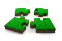 Four Jigsaw Puzzles With Green Grass Red Soil, 3D Illustration