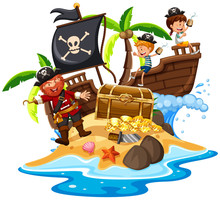Pirate And Happy Kids At Island