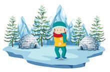 A Boy At North Pole