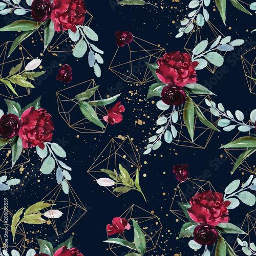 uklad-bukiet-kwiatow-z-plamami-farby-na-tle-marynarki-wojennej-akwarela-geometryczne-recznie-malowane-wzor-ilustracja-kwiatowy-zlote