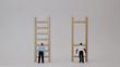 canvas print picture - Racistconceptsinemploymentandpromotion. Miniaturepeopleandminiaturewoodenladders.