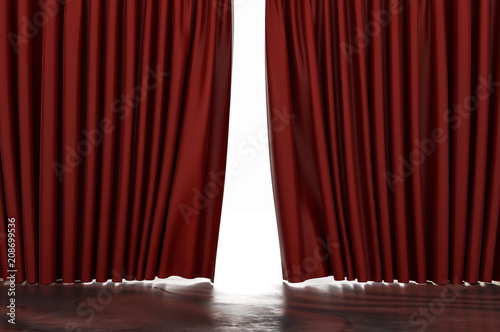 Fotomural Open red curtains in theatre