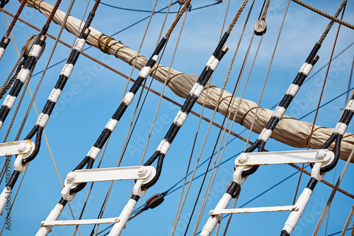 Foto op Plexiglas Schip Close up picture of old sailing ship mast details, selective focus.