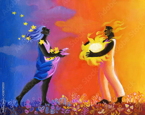 Canvas Print ancestral love surreal dreamin illustration relationship between opposites the s