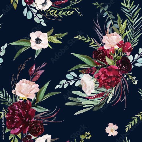 Watercolor Seamless Pattern Floral Illustration Burgundy