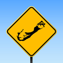 Bermuda Map On Road Sign. Square Poster With Bermuda Island Map On Yellow Rhomb Road Sign. Vector Illustration.