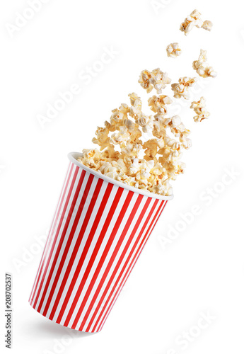 Falling popcorn in box isolated on a white background.