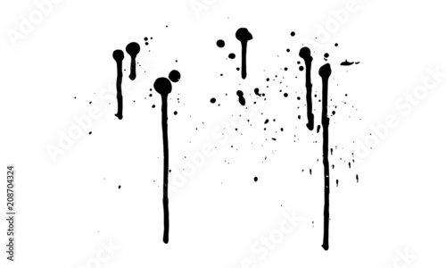 Ink Splatter Black Paint Brush Splashes Fototapeta