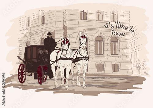 Horse-drawn carriage, building Wallpaper Mural