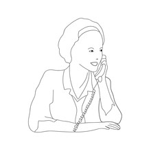 Sketch Of A Smiling Young Woman Answering A Call. Call Center. Support Services. Vector Illustration.