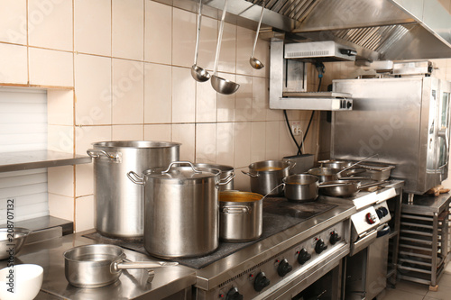 Interior of professional kitchen in restaurant