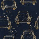 Ręcznie rysowane akwarela bezszwowe wzór / tło. Ślubna romantyczna ilustracja na marynarki wojennej tle z farbą bryzga - rocznika złocisty retro samochód. - 208707541