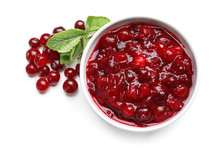 Bowl With Tasty Cranberry Sauce On White Background, Top View