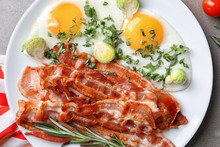 Plate With Tasty Bacon And Fri...