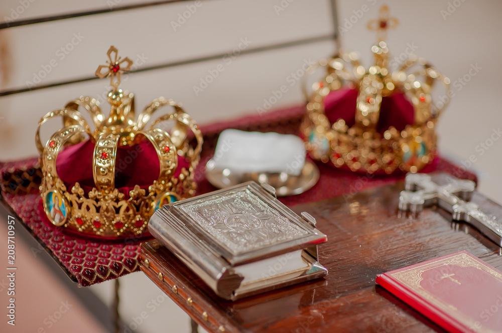 Fototapety, obrazy: orthodox cross in church wedding