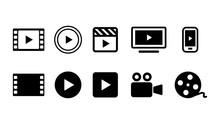 ビデオ動画再生ボタンのアイコン複数セットイラスト白黒