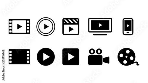 ビデオ動画再生ボタンのアイコン複数セットイラスト白黒 Canvas