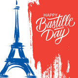 Fototapeta Wieża Eiffla - Happy Bastille Day, 14th of July brush stroke holiday greeting card in colors of the national flag of France with Eiffel tower and hand lettering. Vector illustration.