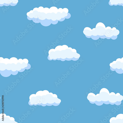 Foto op Aluminium Hemel Seamless background with blue sky and white cartoon clouds. Vector illustration.