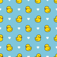 Cute Duck Seamless Pattern, Water Background With Dot, Vector Illustration