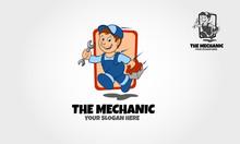 Vector Logo Illustration Of An Auto Mechanic Cartoon Character