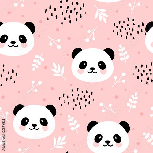 Fototapeta premium Ładny wzór pandy, ręcznie rysowane tła lasu z kwiatami i kropkami, ilustracji wektorowych