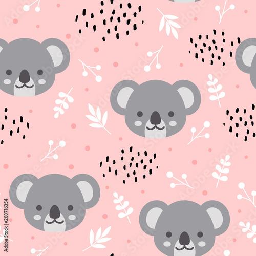 Fototapeta premium Wzór ładny koala, ręcznie rysowane tła lasu z kwiatami i kropkami, ilustracji wektorowych