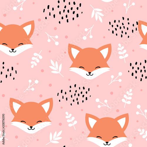 Naklejka premium Wzór ładny lisa, wilk ręcznie rysowane tła lasu z kwiatami i kropkami, ilustracji wektorowych