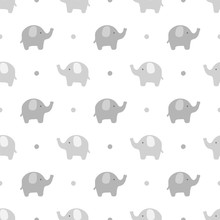 Elephant Cute Seamless Pattern, Cartoon Elephant Background, Vector Illustration