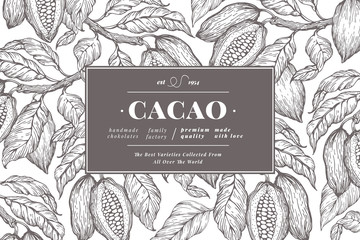 Fototapeta Cocoa bean tree banner template. Chocolate cocoa beans background. Vector hand drawn illustration. Vintage style illustration.