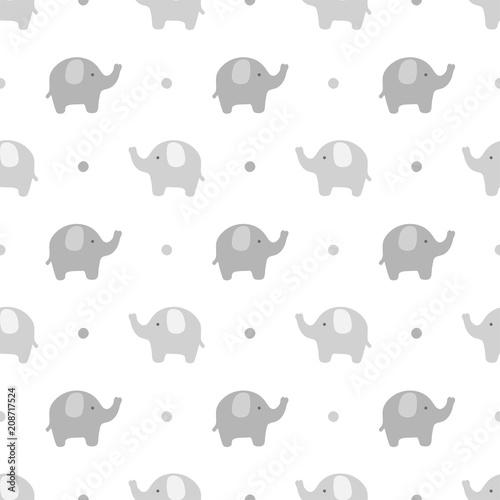 Fototapeta premium Słoń ładny wzór, kreskówka tło słoń, ilustracji wektorowych