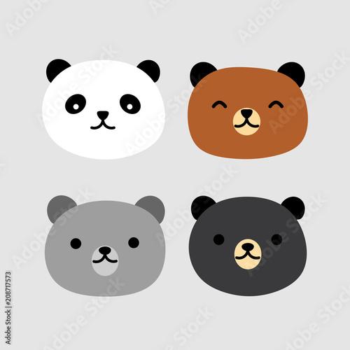 Fototapeta premium Słodki Miś Panda twarz wektor ikona