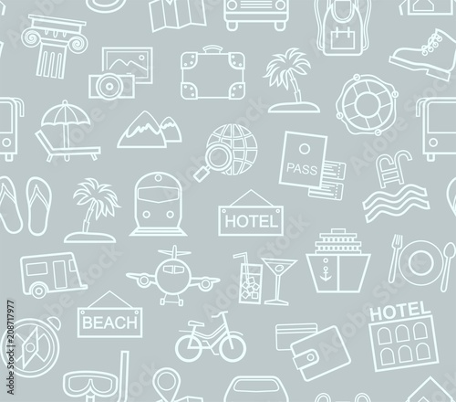Travel Vacation Tourism Seamless Pattern Outline Grey Color