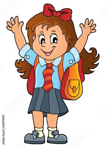 Deurstickers Voor kinderen Happy pupil girl theme image 1
