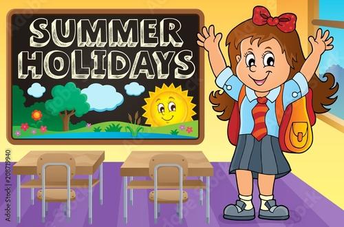 Deurstickers Voor kinderen Happy pupil girl theme image 2