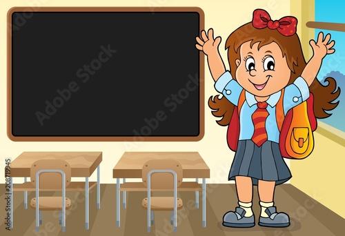 Deurstickers Voor kinderen Happy pupil girl theme image 3
