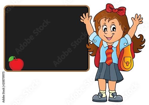 Deurstickers Voor kinderen Happy pupil girl theme image 5