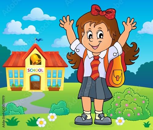 Deurstickers Voor kinderen Happy pupil girl theme image 4