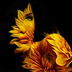Fototapeta Abstrakcja young beautiful woman fantasy portrait double exposure