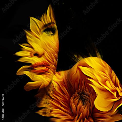 młoda piękna kobieta fantasy portret podwójnej ekspozycji