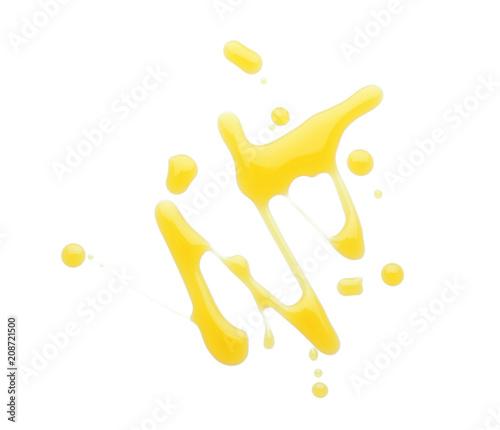 Carta da parati Spilled fresh olive oil on white background
