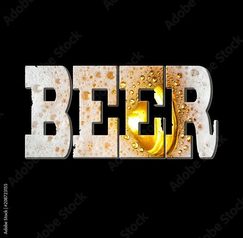 Fototapety, obrazy: Font, word BEER, texture of beer, texture of beer foam, Designer