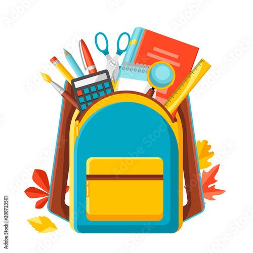 Obraz School backpack with education items. - fototapety do salonu